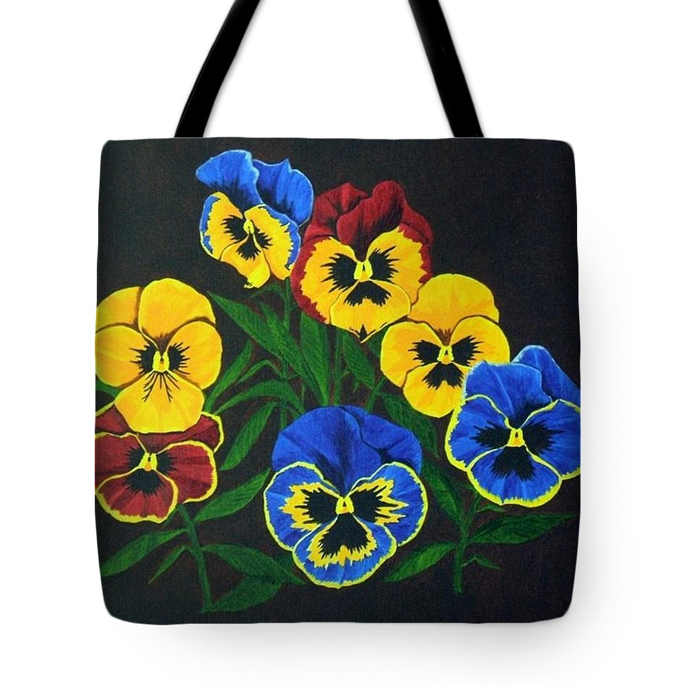 Pansies Tote Bag featuring the painting Pansy Lions by Brandy House