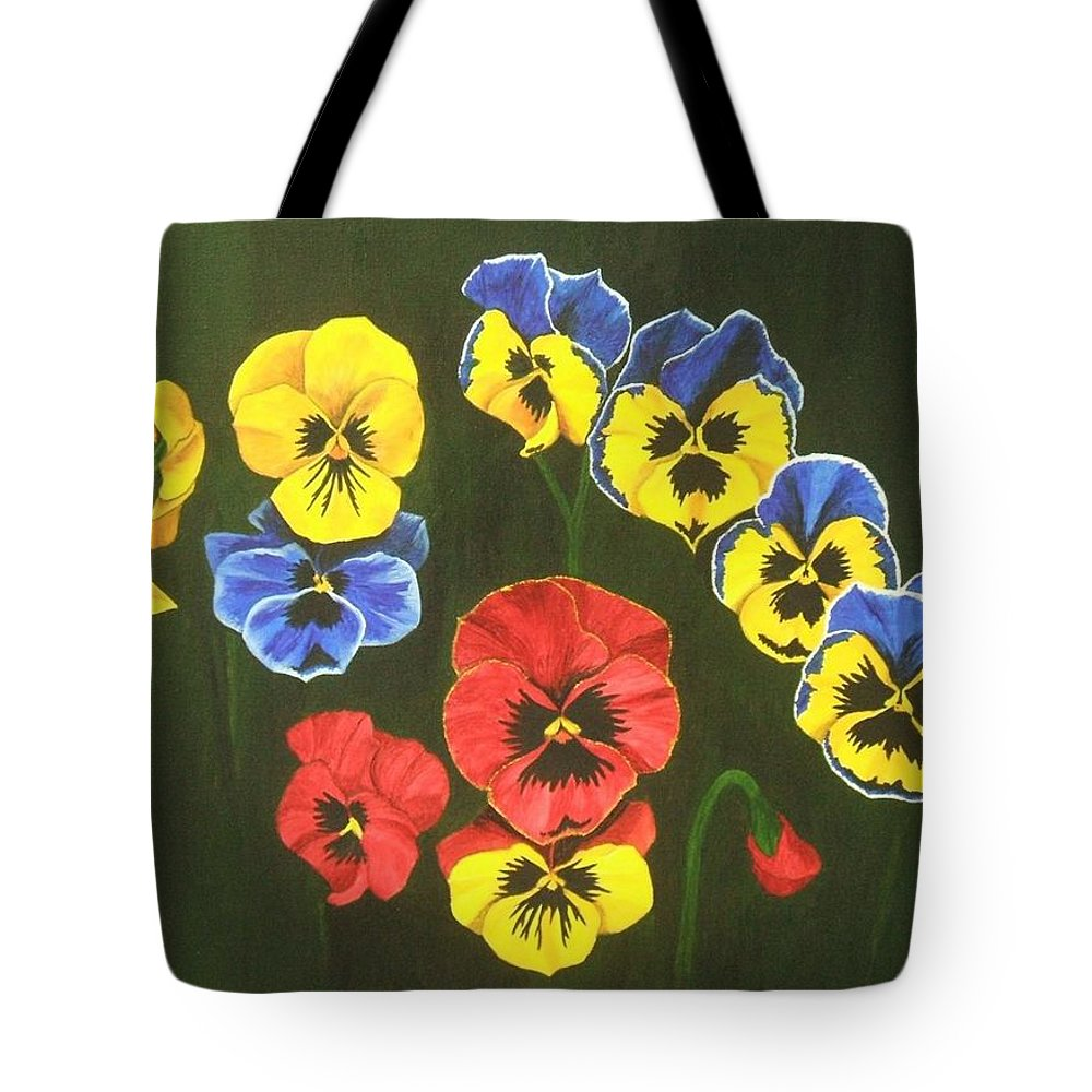 Pansy Flowers Tote Bag featuring the painting Pansy Lions Too by Brandy House