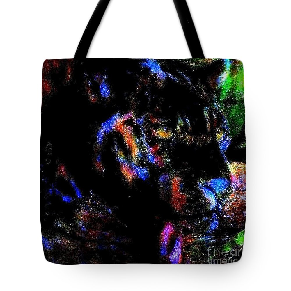 Panther Tote Bag featuring the painting Panther by Wbk