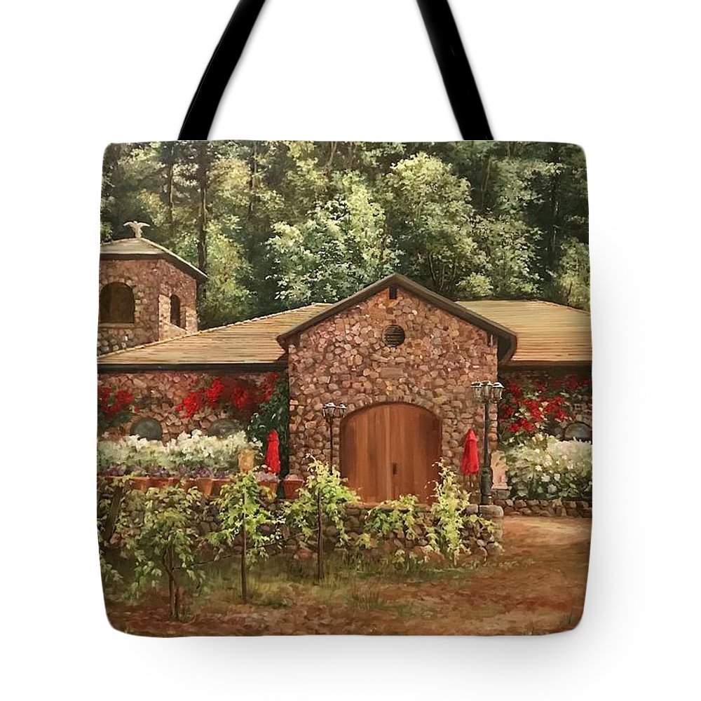 Wineries In California Tote Bag featuring the painting Paoletti Estates Winery by Gail Salitui