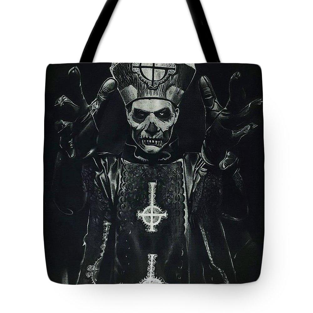 Ghost Tote Bag featuring the drawing Papa Emeritus II by Sierra Van Hoose