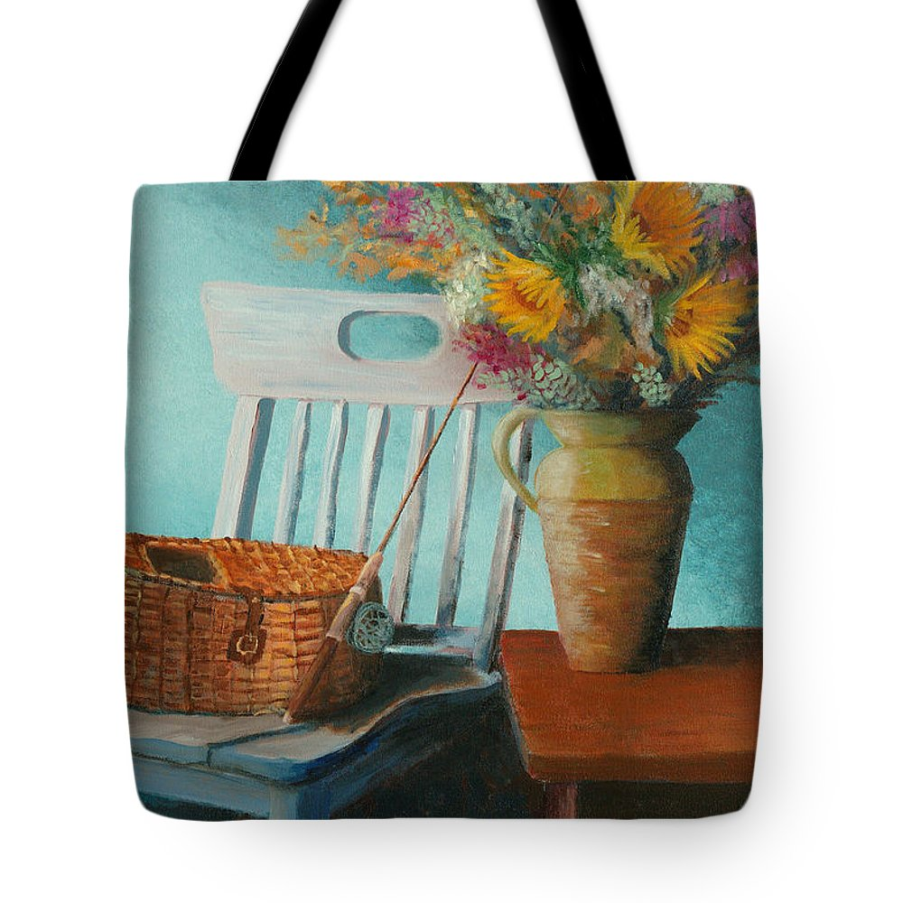Floral Tote Bag featuring the painting Papa's Pole by Jerry McElroy