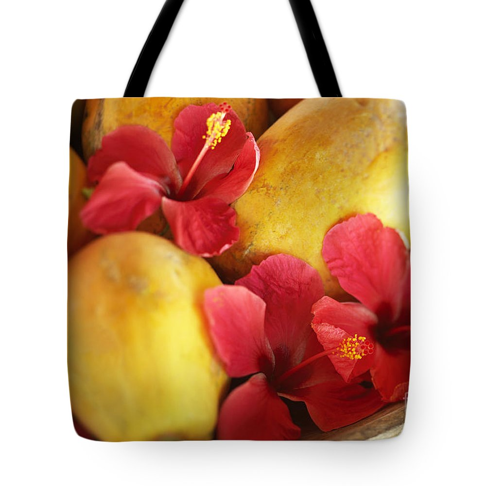 Blur Tote Bag featuring the photograph Papaya Fruit And Hibiscus by Kyle Rothenborg - Printscapes