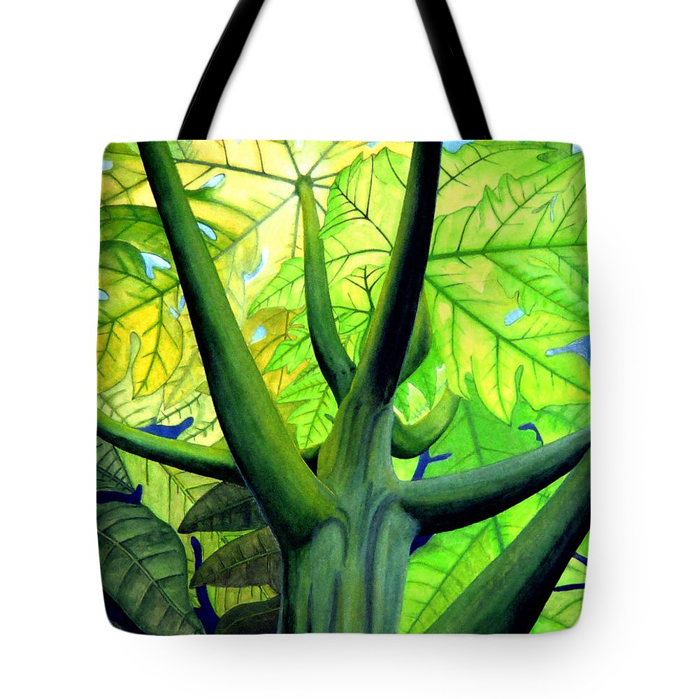 Papaya Tree Tote Bag featuring the painting Papaya Tree by Kevin Smith
