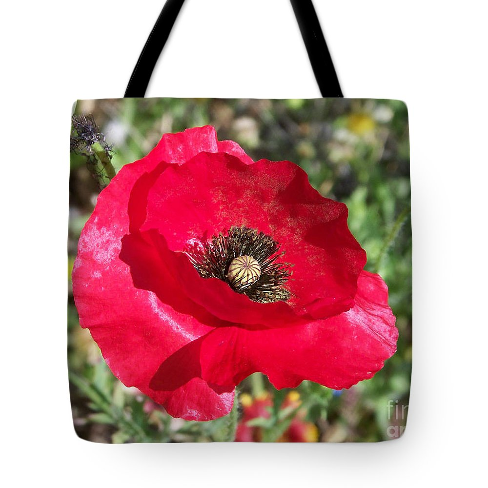 Red Tote Bag featuring the photograph Paper Flower by Kathy McClure