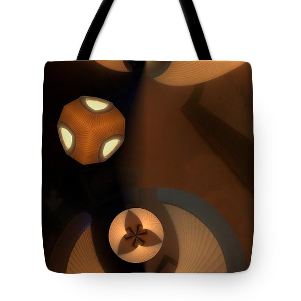 Collage Tote Bag featuring the digital art Paper Lamps by Ron Bissett