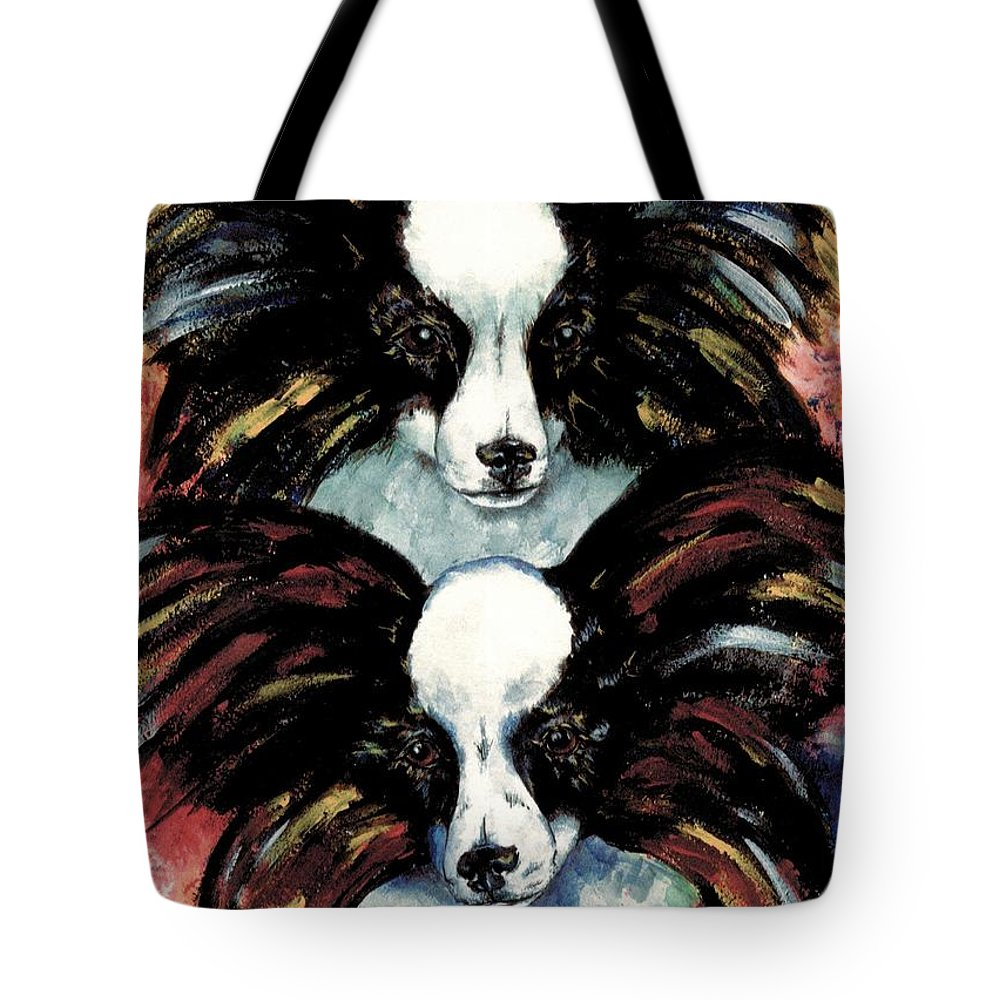 Papillon Tote Bag featuring the painting Papillon De Mardi Gras by Kathleen Sepulveda