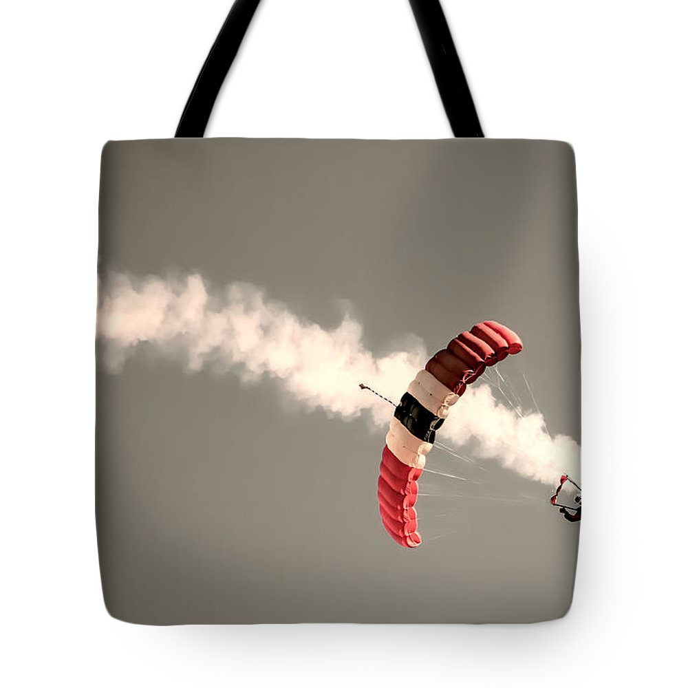 Parachute Tote Bag featuring the photograph Parachuting In by Martin Newman