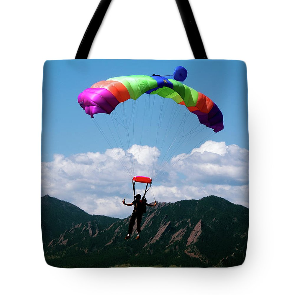 Parachuting Tote Bag featuring the photograph Parachuting by Mark Ivins