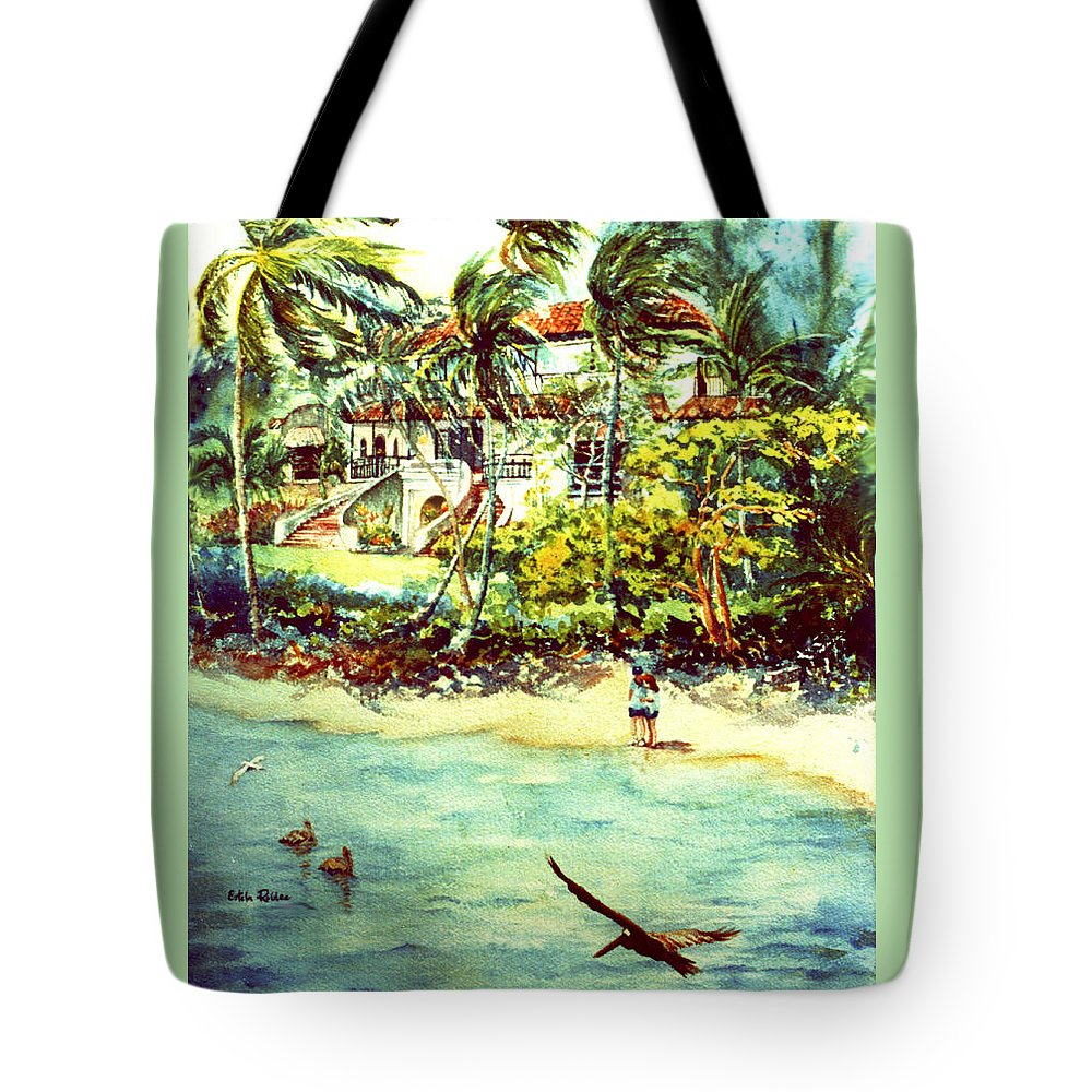 Watercolor Paintings Tote Bag featuring the painting Paradise At Dorado Puerto Rico by Estela Robles