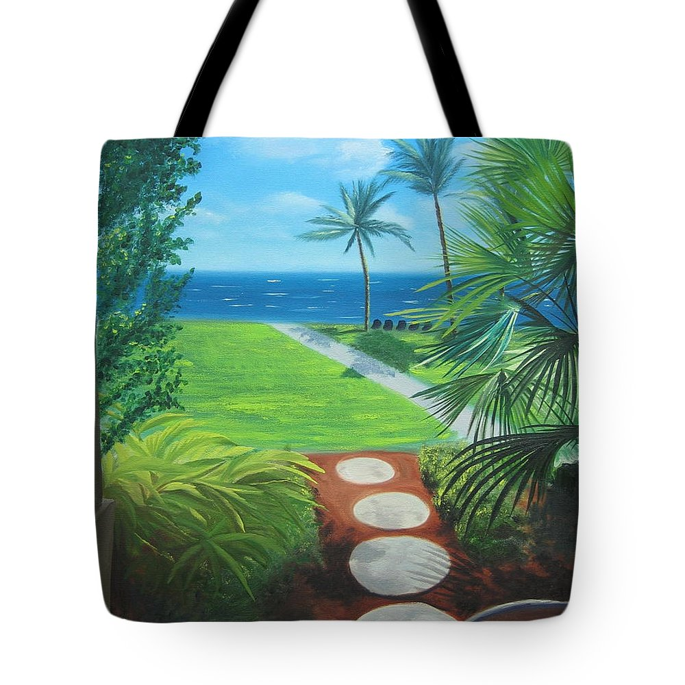Seascape Tote Bag featuring the painting Paradise Beckons by Lea Novak