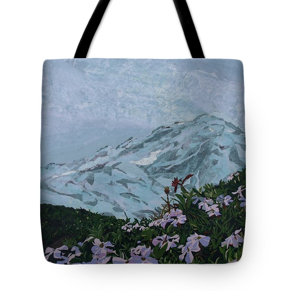 Landscape Tote Bag featuring the painting Paradise Mount Rainier by Leah Tomaino