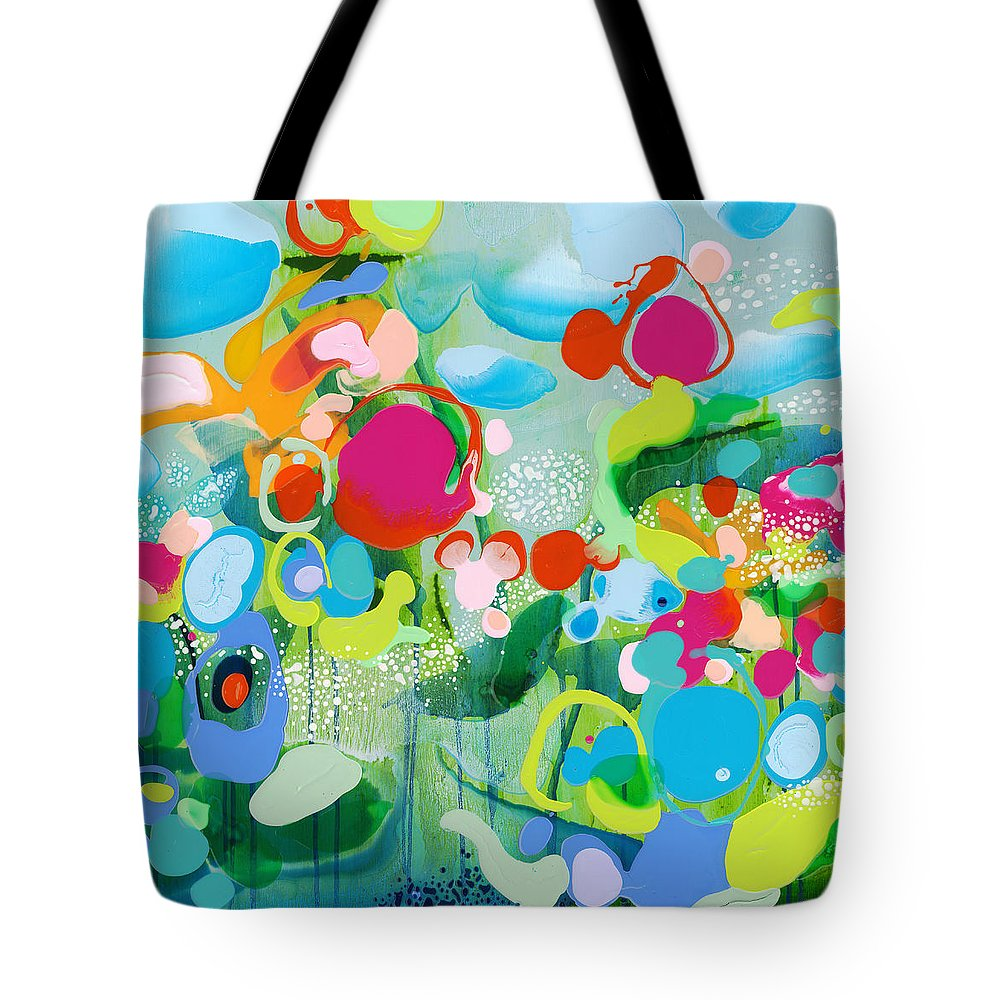 Abstract Tote Bag featuring the painting Paradise Outer Limits by Claire Desjardins