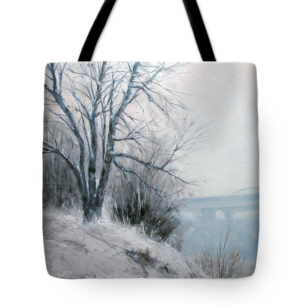 Art Tote Bag featuring the painting Paradise Point Bridge Winter by Jim Gola