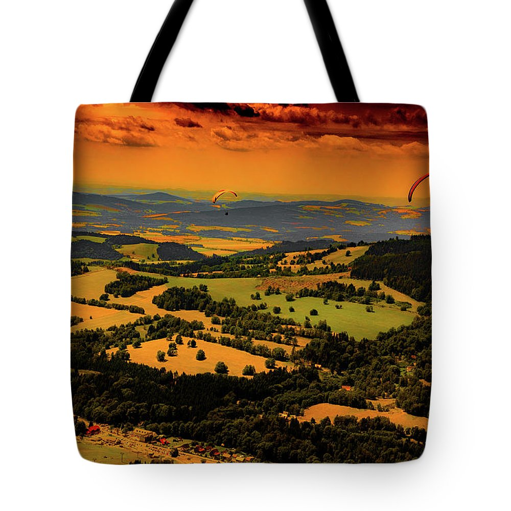 Paragliding Tote Bag featuring the photograph Paragliding by Andrzej Grygiel