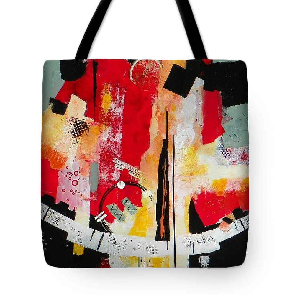 Abstract Expressionism Tote Bag featuring the painting Parallels by Donna Frost