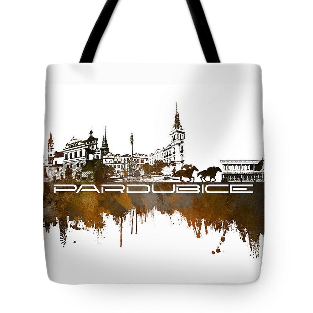 Pardubice Tote Bag featuring the digital art Pardubice Skyline City Brown by Justyna JBJart