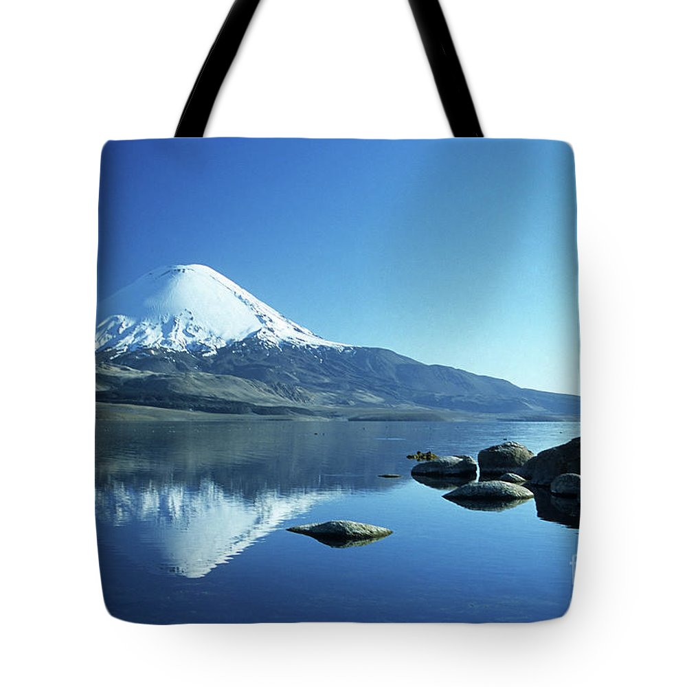 Chile Tote Bag featuring the photograph Parinacota Volcano Reflections Chile by James Brunker