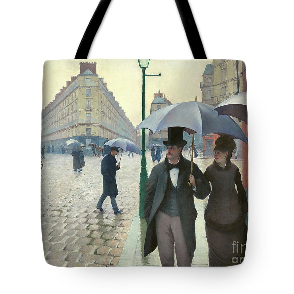 Paris Tote Bag featuring the photograph Paris A Rainy Day - Gustave Caillebotte by Gustave Caillebotte