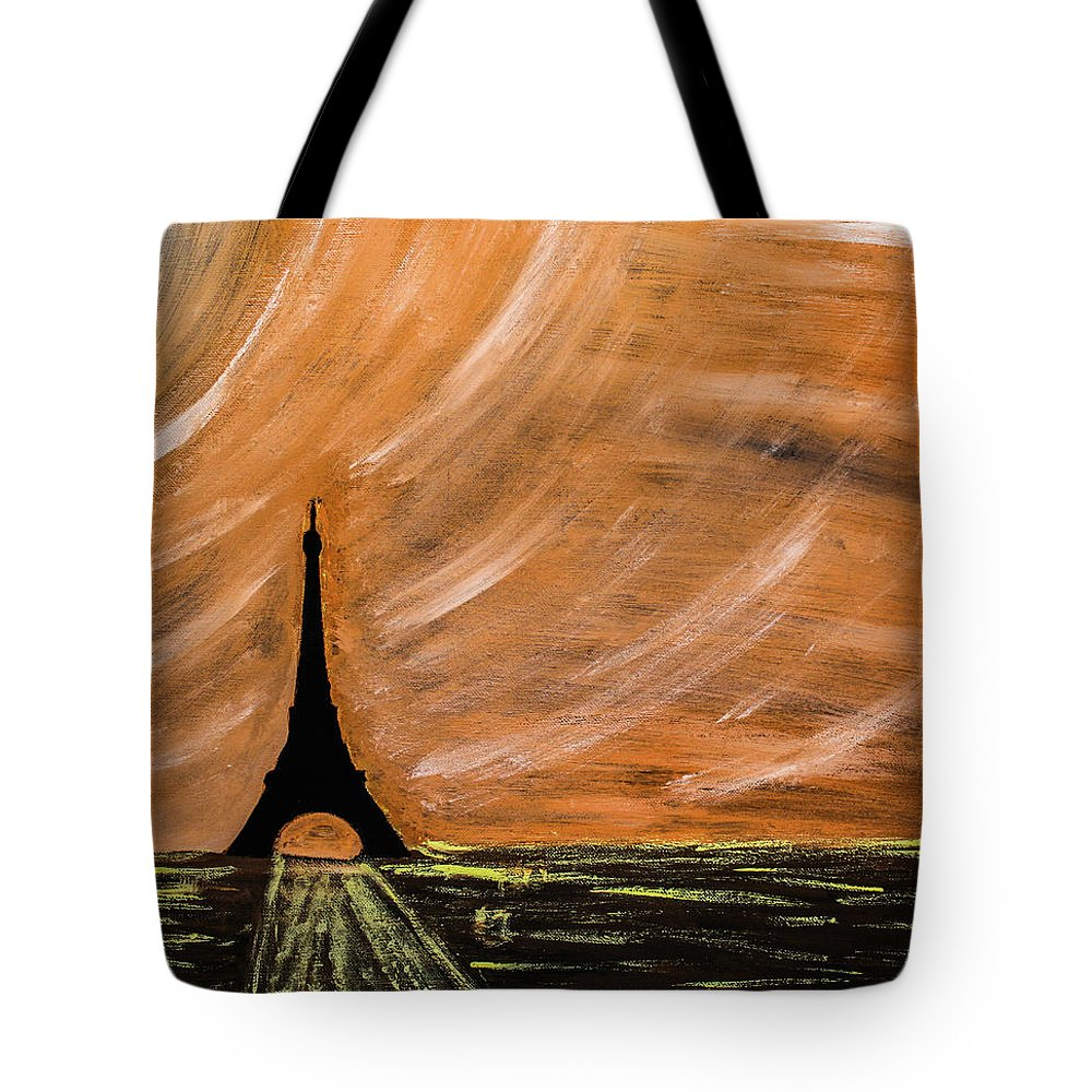 Paris Tote Bag featuring the painting Paris At Night by Julien Boutin