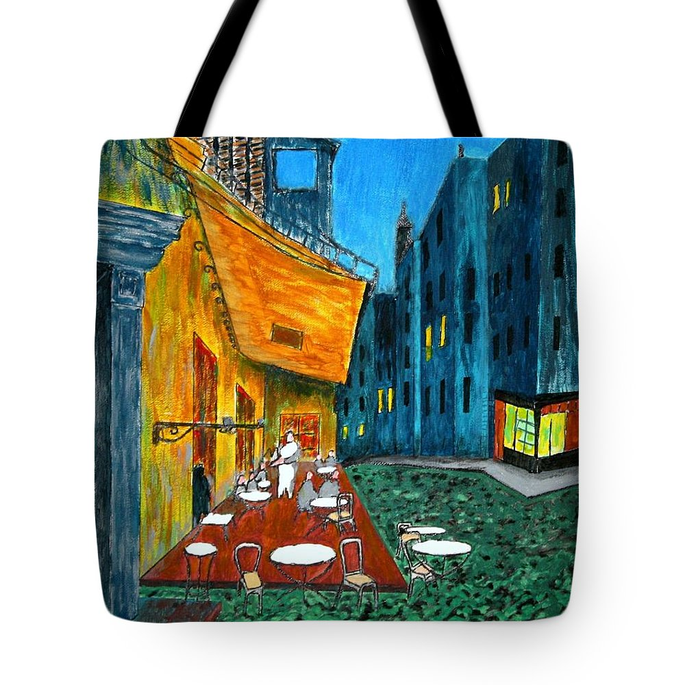 Van Gogh Tote Bag featuring the painting Paris Cafe by Irving Starr