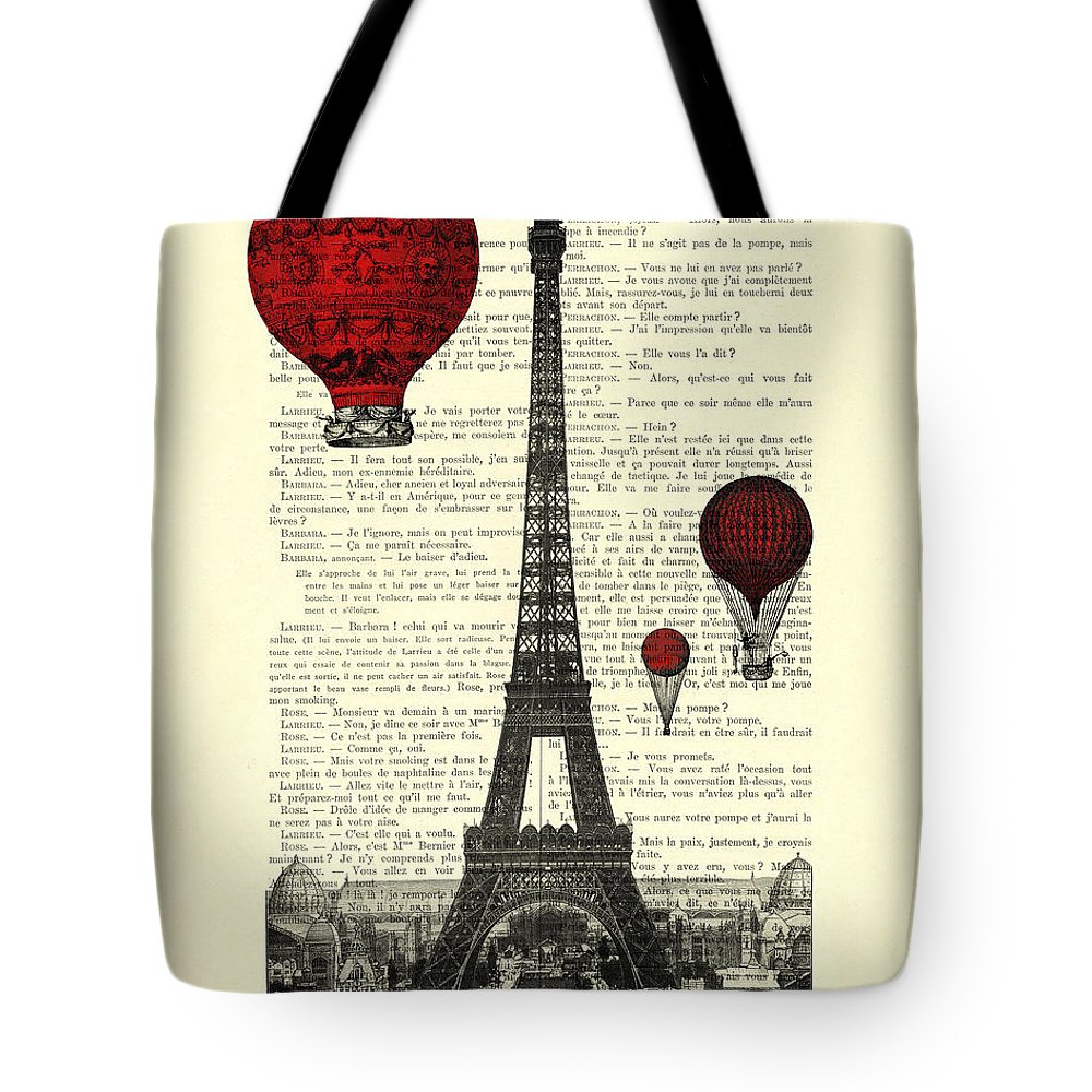 Eiffel Tower Tote Bag featuring the digital art Paris, City Of Love by Madame Memento