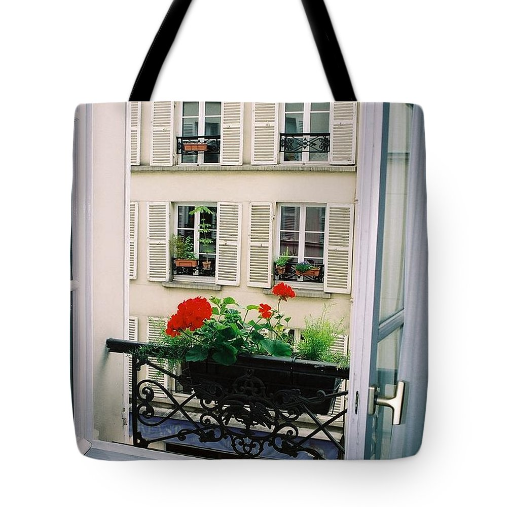Window Tote Bag featuring the photograph Paris Day Windowbox by Nadine Rippelmeyer