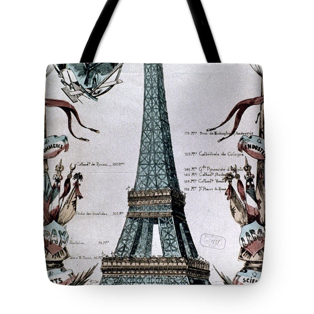 1889 Tote Bag featuring the photograph Paris: Eiffel Tower, 1889 by Granger