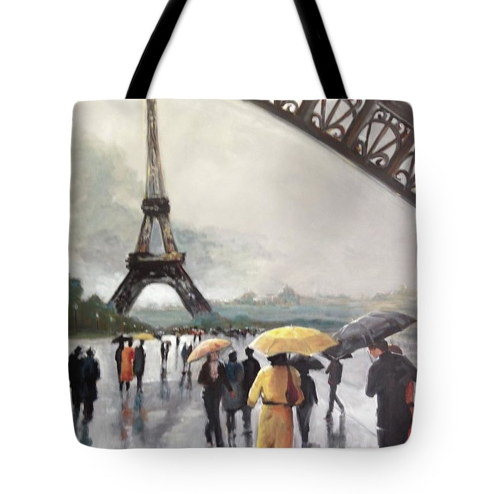 Paris Tote Bag featuring the painting Paris Fog by Kathy Brusnighan