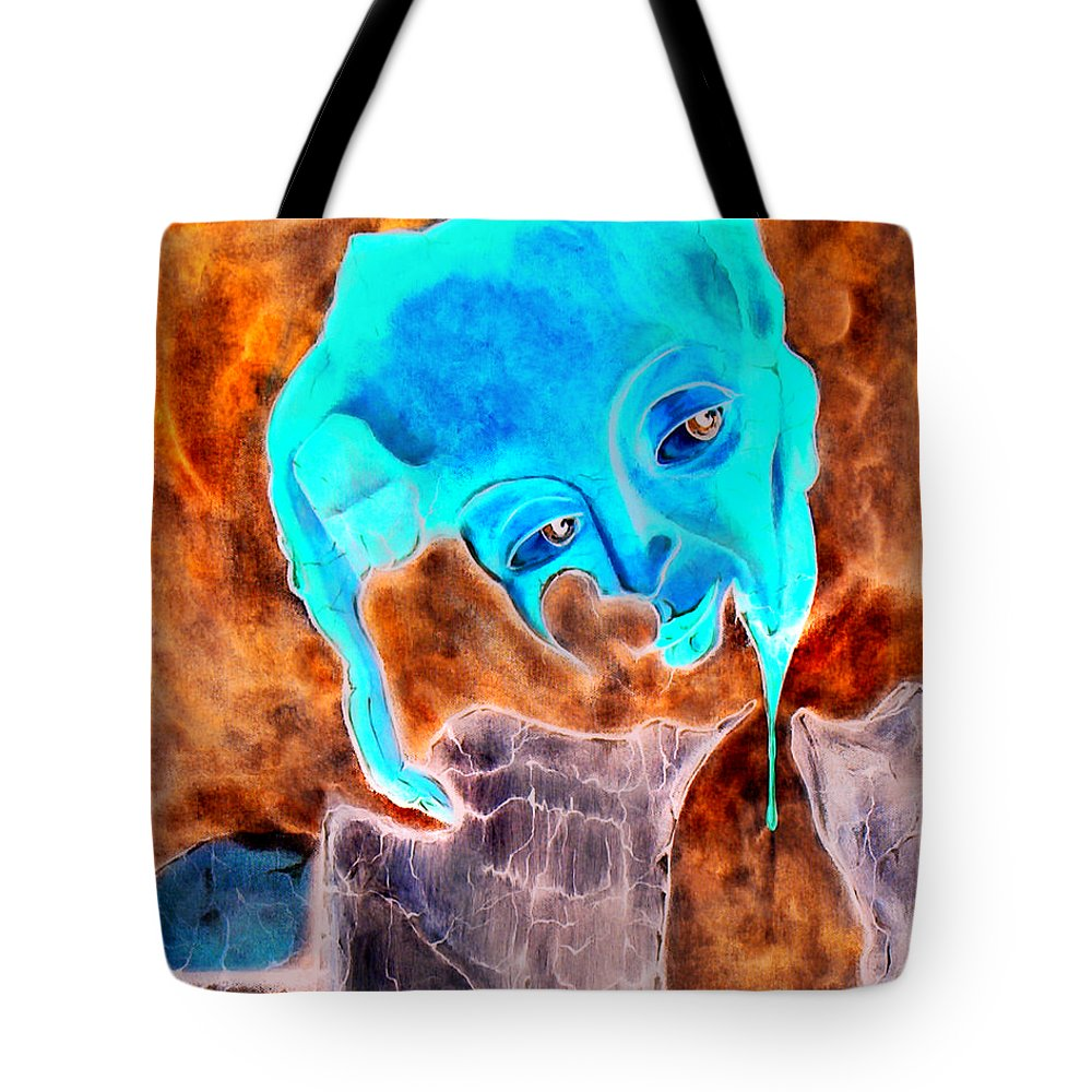 Red Blood Surrealism Color Tote Bag featuring the painting Paris H by Veronica Jackson