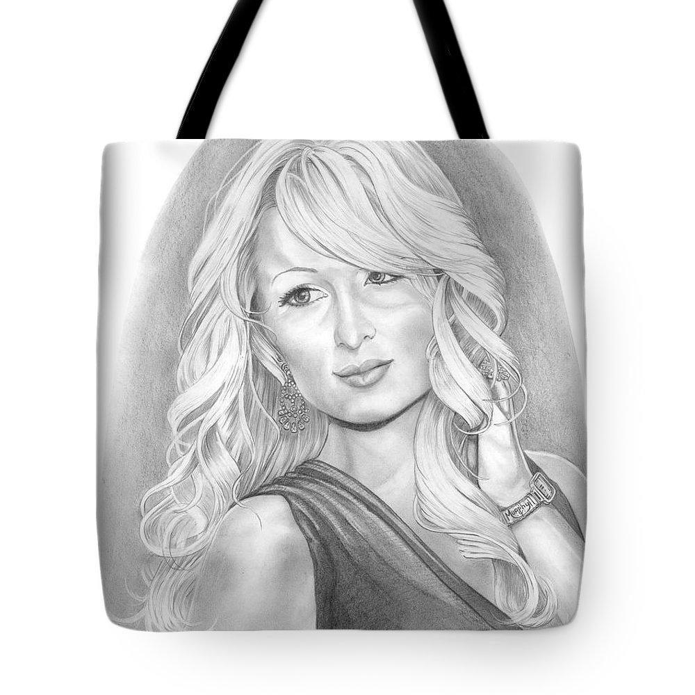 Portrait Tote Bag featuring the drawing Paris Hilton by Murphy Elliott