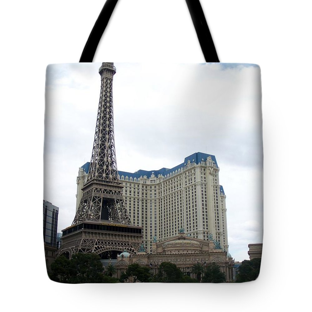Bellagio Tote Bag featuring the photograph Paris Hotel by Anita Burgermeister