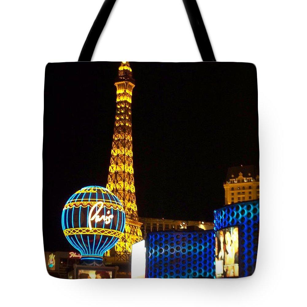 Vegas Tote Bag featuring the photograph Paris Hotel At Night by Anita Burgermeister