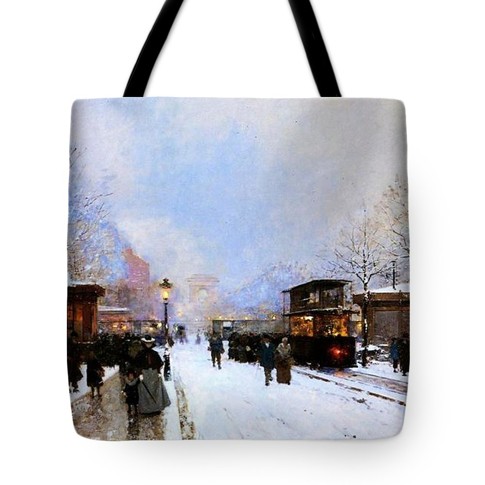 A View Facing South East From Place De La Porte Maillot To The Arc De Triomphe; Tote Bag featuring the painting Paris In Winter by Luigi Loir