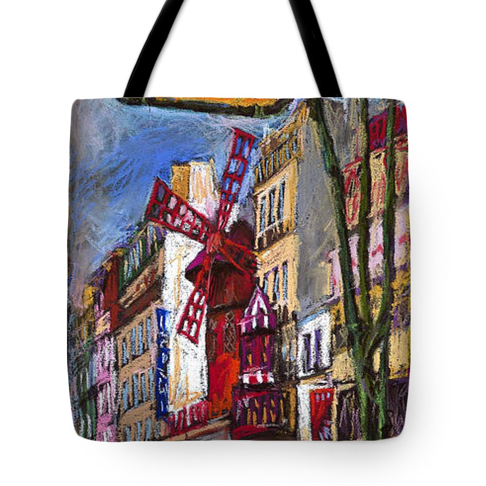 Cityscape Tote Bag featuring the painting Paris Mulen Rouge by Yuriy Shevchuk
