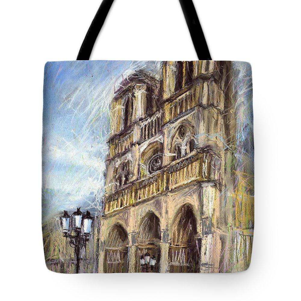 Cityscape Tote Bag featuring the pastel Paris Notre-dame De Paris by Yuriy Shevchuk