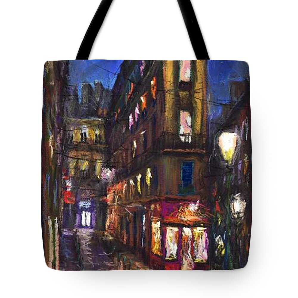 Landscape Tote Bag featuring the painting Paris Old Street by Yuriy Shevchuk