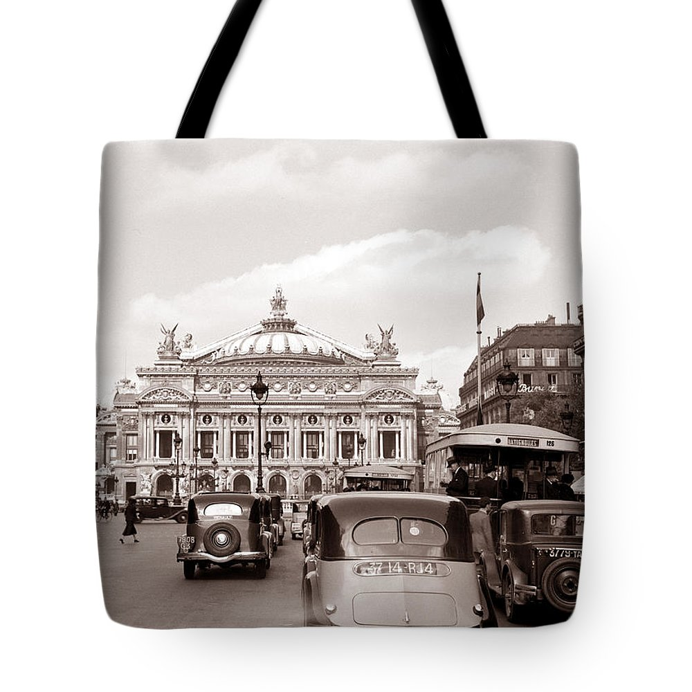 Paris Tote Bag featuring the photograph Paris Opera 1935 Sepia by Andrew Fare