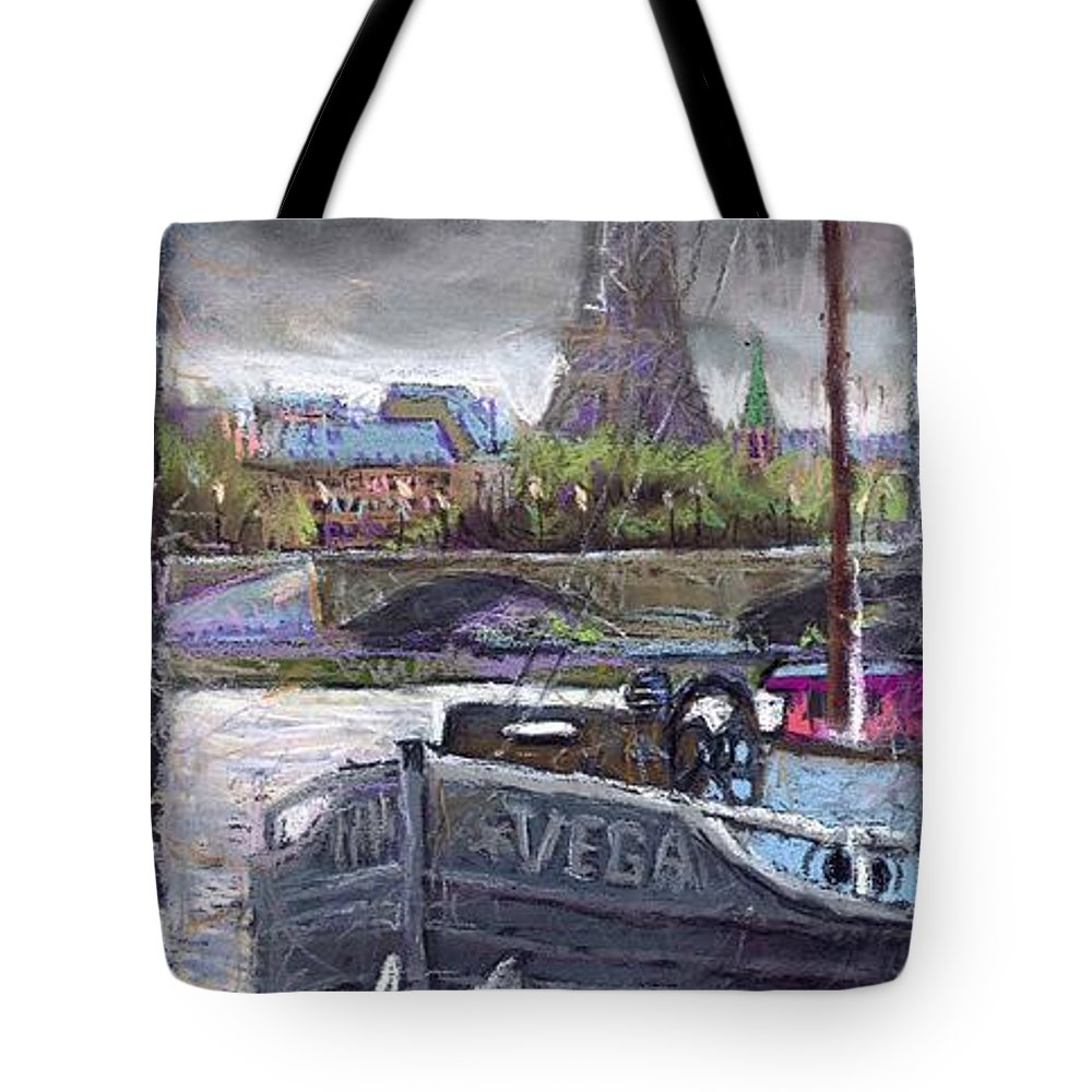 Pastel Tote Bag featuring the painting Paris Pont Alexandre IIi by Yuriy Shevchuk