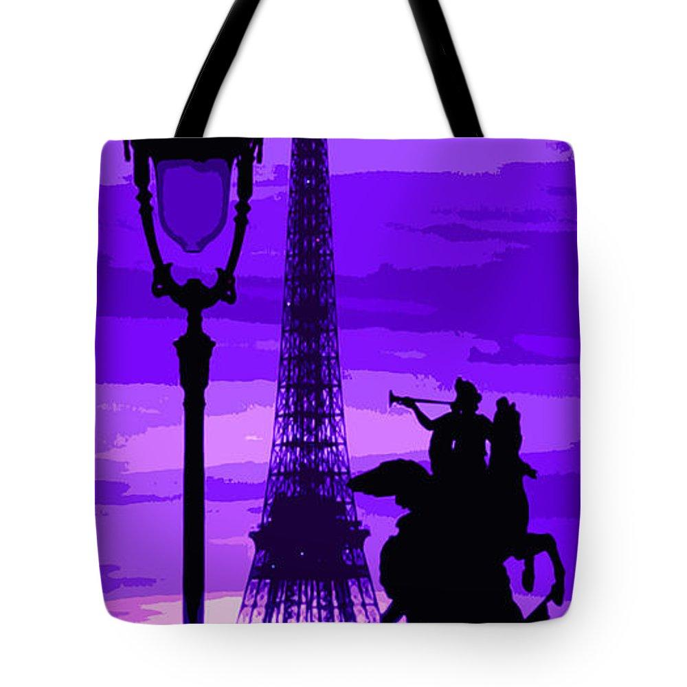 Paris Tote Bag featuring the photograph Paris Tour Eiffel Violet by Yuriy Shevchuk