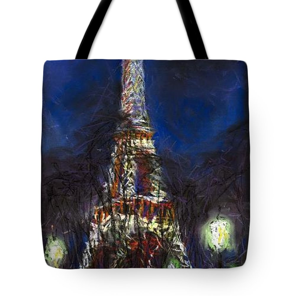 Pastel Tote Bag featuring the painting Paris Tour Eiffel by Yuriy Shevchuk
