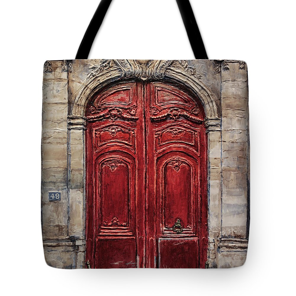 Doors Tote Bag featuring the painting Parisian Door No.49 by Joey Agbayani