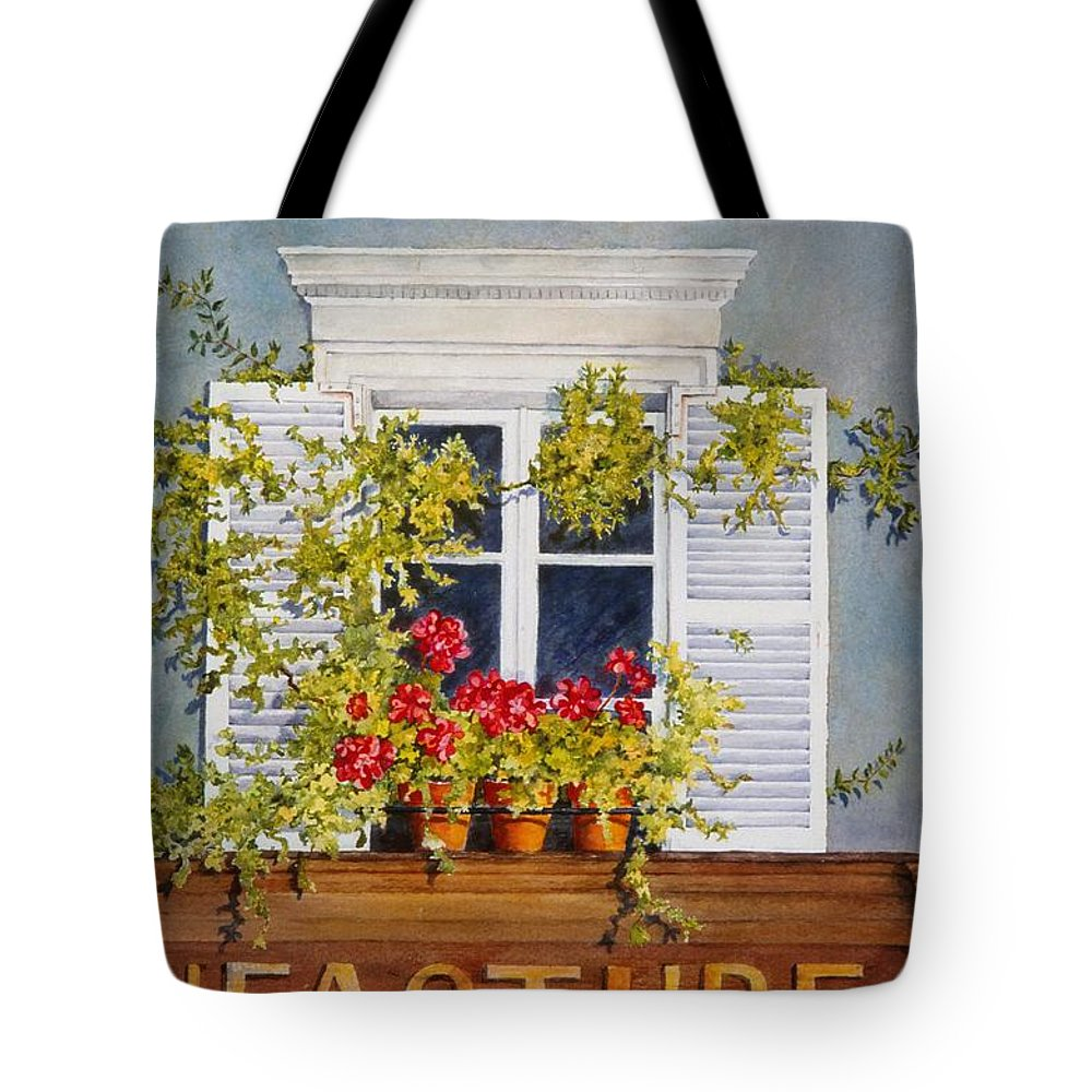 France Tote Bag featuring the painting Parisian Window by Mary Ellen Mueller Legault