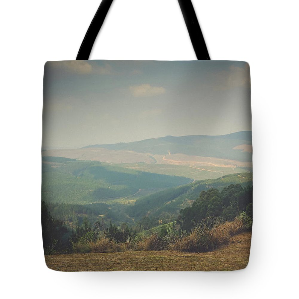 Park Bench Tote Bag featuring the photograph Park Bench Series - Misty Mountains by Chantelle Flores