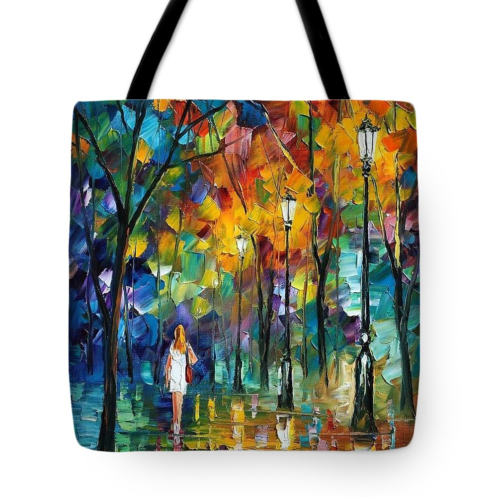 Afremov Tote Bag featuring the painting Park New by Leonid Afremov