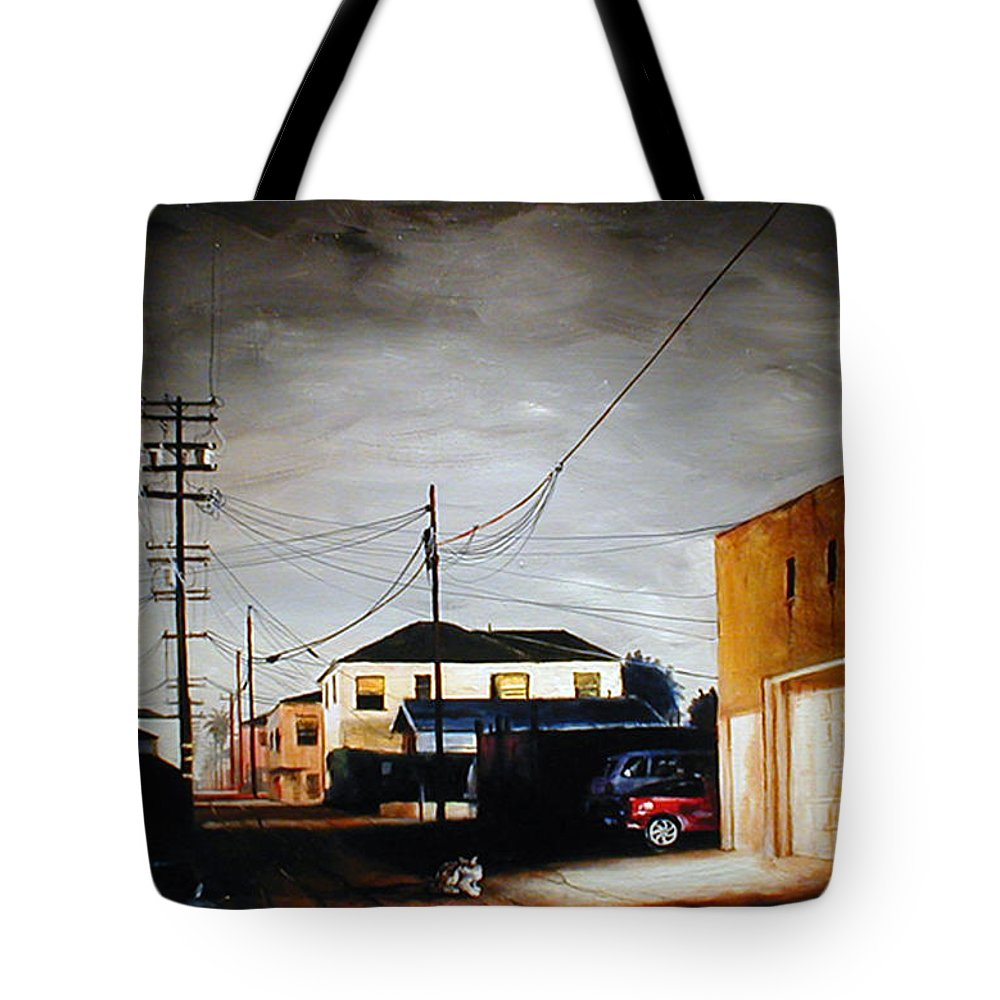 Cityscapes Tote Bag featuring the painting Parked In The Light by Duke Windsor