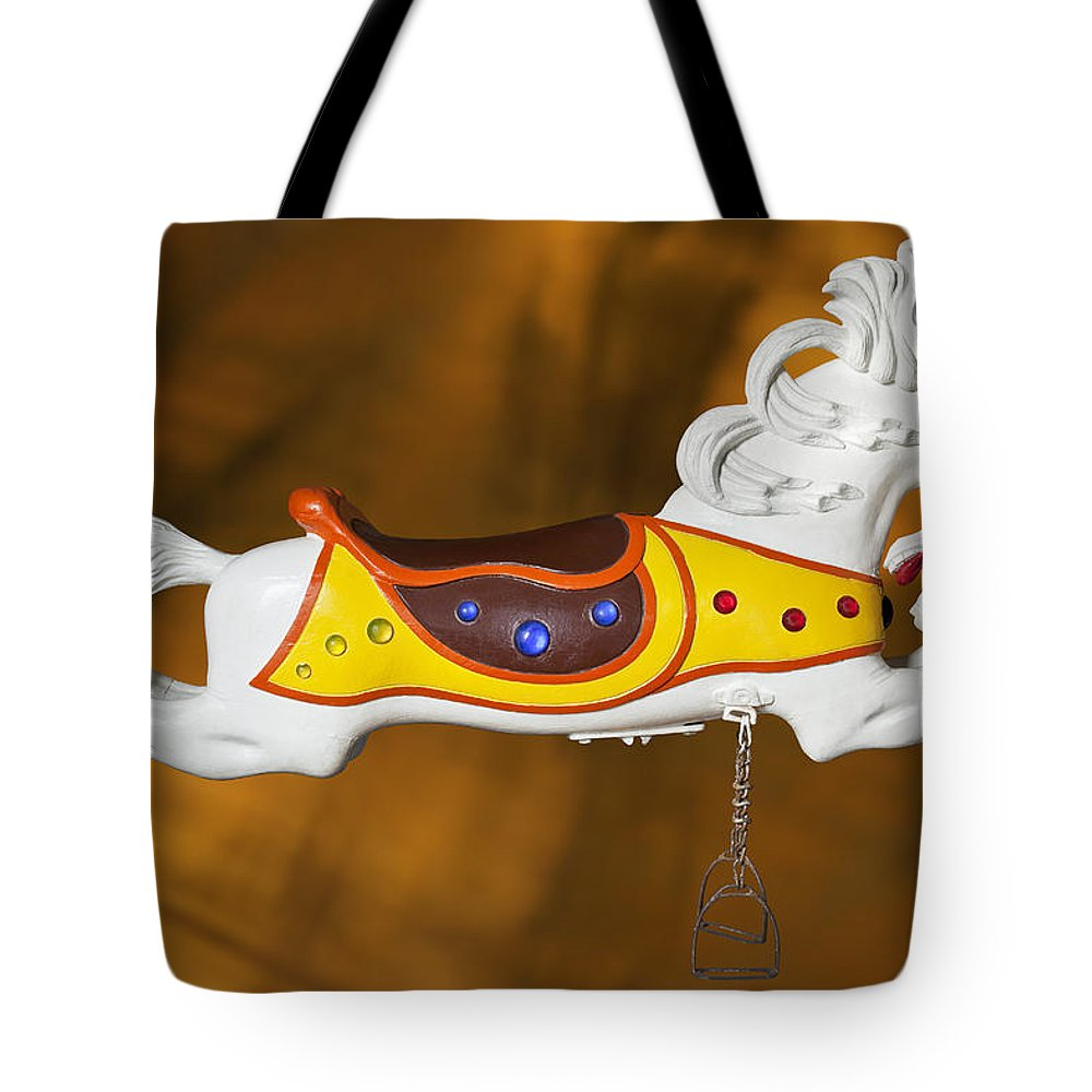 Carousel Horse Tote Bag featuring the photograph Parker Flying Carousel Horse 1 by Kelley King
