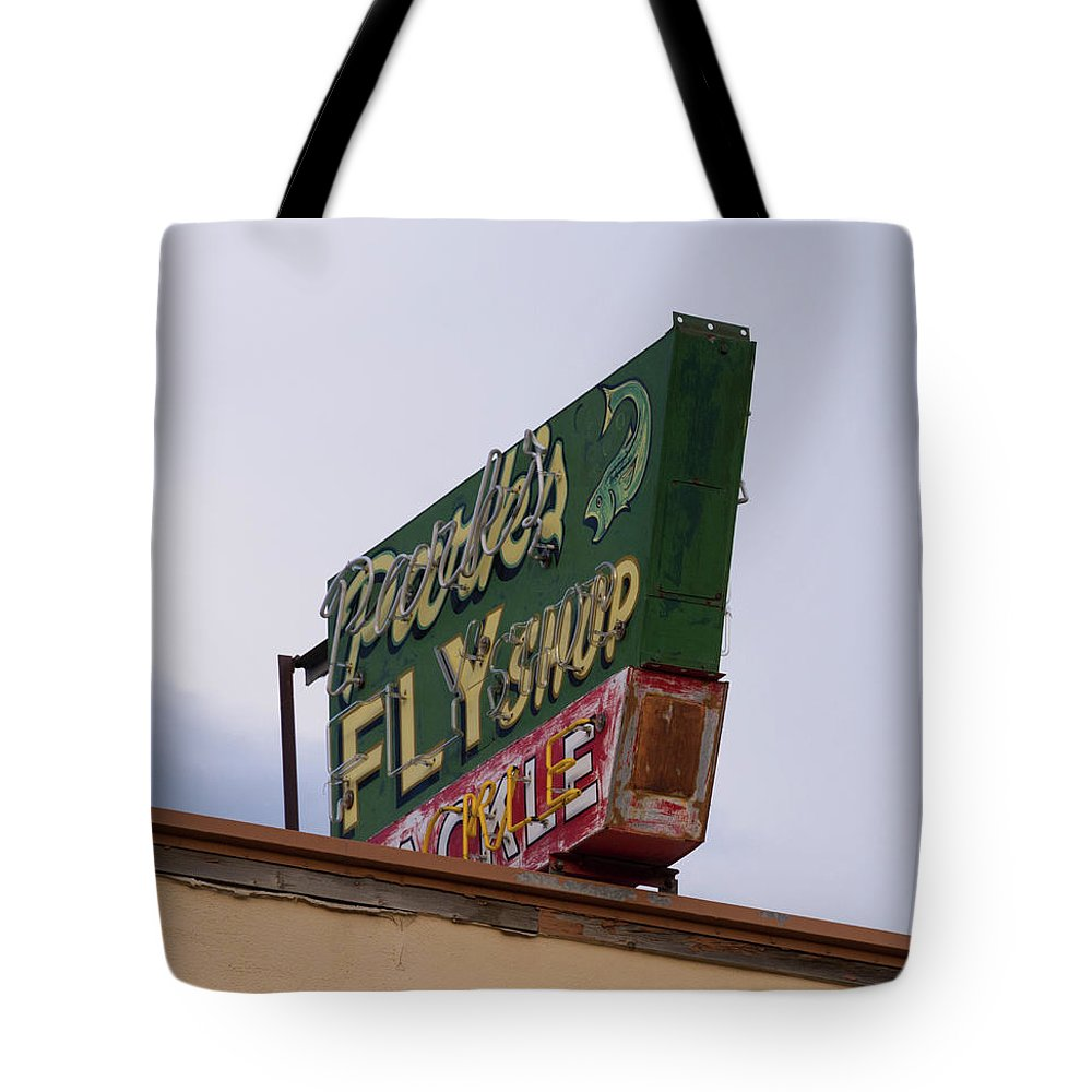 Park's Fly Shop Tote Bag featuring the photograph Park's Fly Shop by Teresa Otto