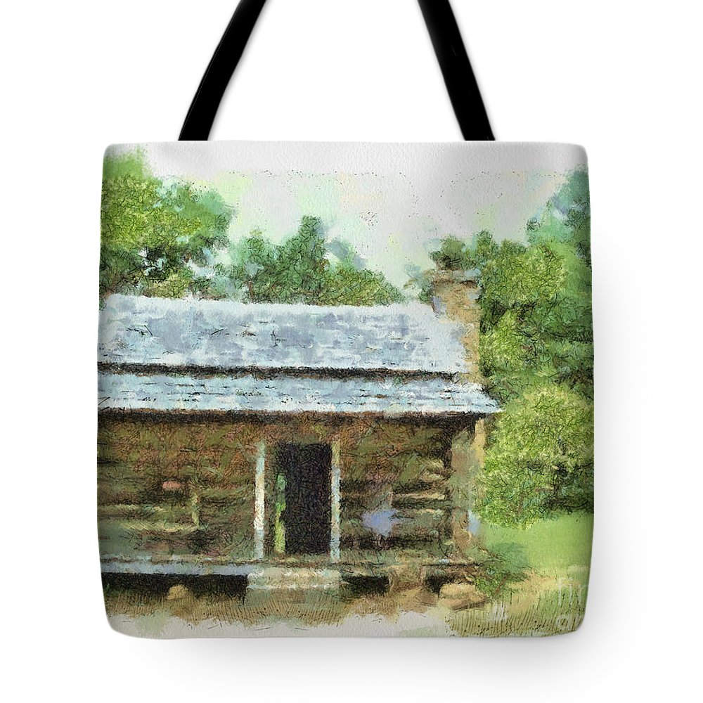 Blue Tote Bag featuring the painting Parkway Cabin by Paulette B Wright