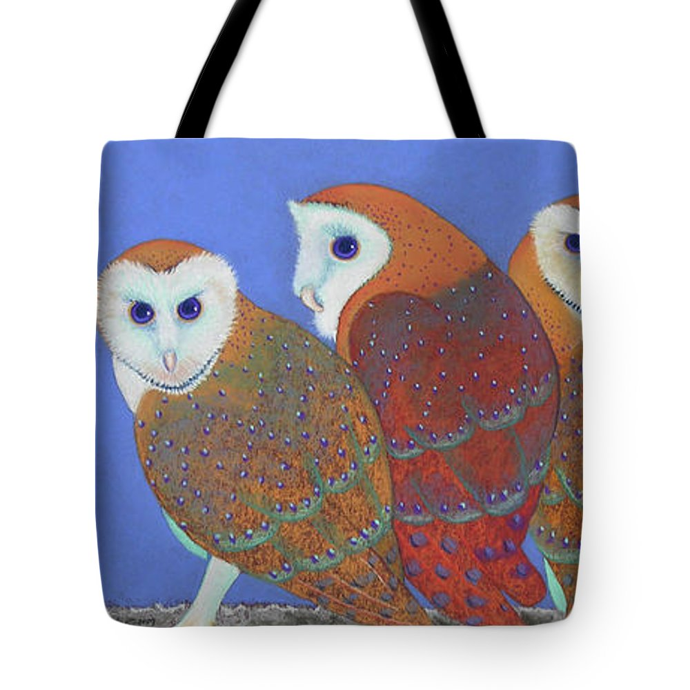 Barn Owls Tote Bag featuring the pastel Parliament Of Owls by Tracy L Teeter